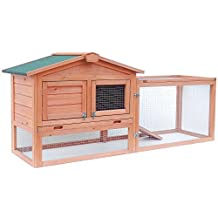 ALEKO Wooden Pet House Poultry Hutch, Rabbits Chickens Hen Coop Wooden Cage