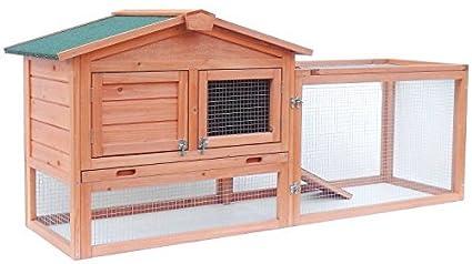Aleko Caseta de madera para mascotas, conejos, gallinas, gallinas, gallinas