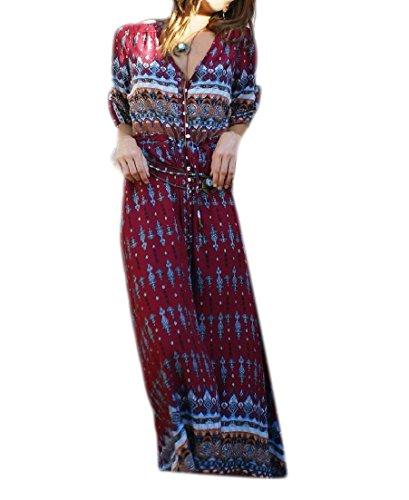Ainr Bouton Floral Womens Longue Robe Maxi Boho Manches Vers Le Bas Demi-plage Longue Robe Rouge Vin