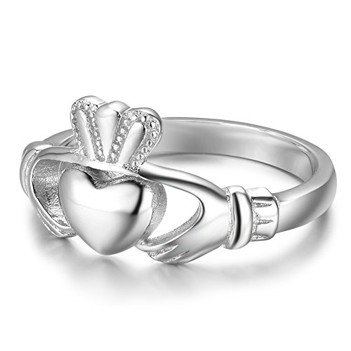 S925 Sterling Silver Irish Ladies' Claddagh Ring, Size 6 7 8 9 (7)