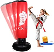 """LURNOFY Punching Bag for Kids and Adults 63"""" Freestanding Inflatable Punching Bags Bounce Back Fitness Ki"""
