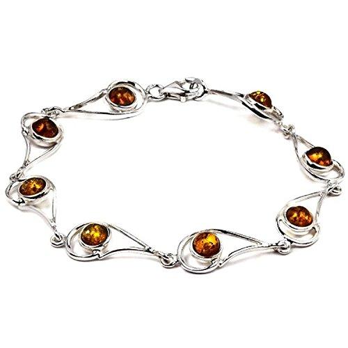(Sterling Silver Amber Eye Shape Link Bracelet 7,5 Inches)