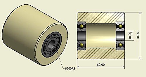 10mm wide-10mm bearing 4 Pack de 4 ruedas de nailon mecanizadas de 50 mm de di/ámetro fabricadas en la UE