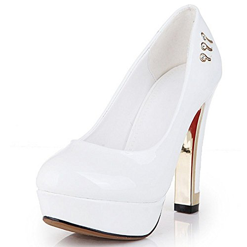 LongFengMa Women High Heel Shoes Platform Classics Fashion Quality Pumps White rwgY9