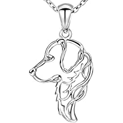 MANBU 925 Sterling Silver Charm Golden Retriever Greyhound Dog Head Pendant Necklace Animal Memorial Jewelry for Women or Girls