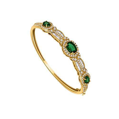 (10K Yellow Gold Multi-Shape Gemstone & 1.61 Ct Diamond 3-Stone Style Halo Bangle Bracelet (emerald & real diamond))