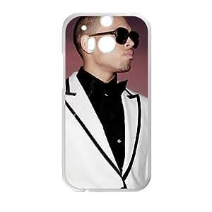 Chris Brown 004 funda HTC One M8 caja funda del teléfono celular del teléfono celular blanco cubierta de la caja funda EVAXLKNBC21868