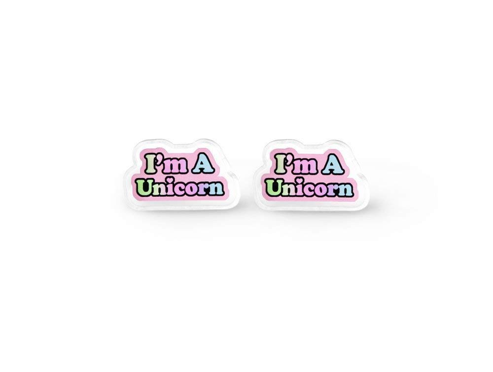 Tiny I'm A Unicorn Earrings - Rainbow Unicorn, Fairy Kei, Aesthetic, Pastel Grunge, Soft Grunge 4