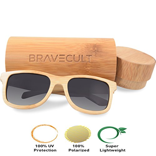 BraveCult | Polarized & Natural Bamboo Sunglasses - Lightweight & Floatable Frame - Hand-Crafted - Free Case + MicroFiber Cloth - 18 Glasses Dollar