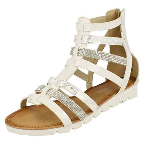 Ladies Savannah Synthetic Patent Gladiator Sandals F10495 White Multi
