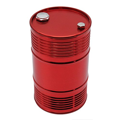 LAFEINA Metal Oil Drum Fuel Tank Container for 1/10 RC4WD D90 SCX10 Rock Crawler RC Car Decor Accessories (Red)