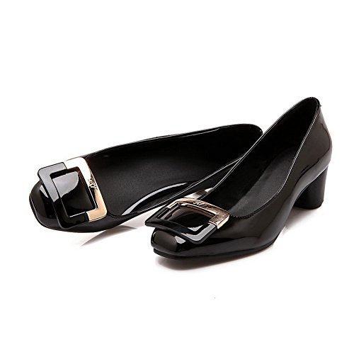 BalaMasa Girls slip-on low-heels solido in vernice pumps-shoes, Nero (Black), 35