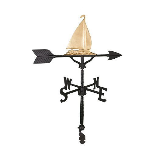 Montague Metal Products 32-Inch Weathervane with Gold Sailboat Ornament by Montague Metal Products