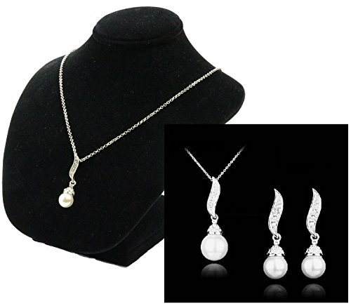Silver Plated Rhinestone Drop Faux Pearl Bridal Necklace and Earrings (Pearl Sport Necklace)