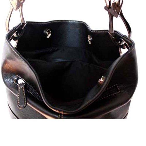 Classic Medium Shoulder Handtasche silbernen Schnallen, Italien schwarz
