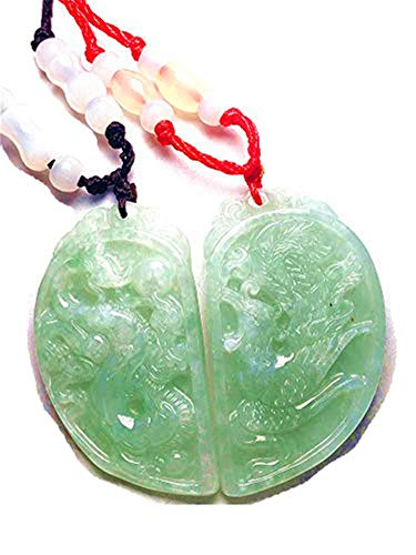 yigedan Natural Burmese Jade Dragon and Phoenix Pair of Free Certificate Packaging