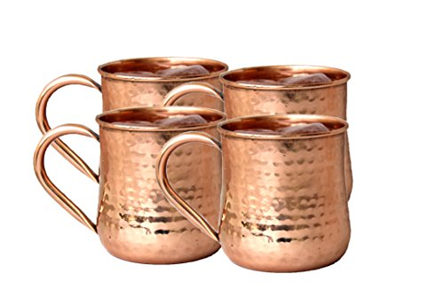 STREET CRAFT Copper Moscow Mule Mug Handmade Pure Copper Hammered Moscow Mule Mugs Cups Capacity 16 Ounce Copper Handle Mug Set of 4