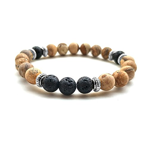 GIONO Lava Stone Meditation Mala African Tibet Bead Turquoise Howlite Oil Diffuser Ethnic Elastic Bracelet ()