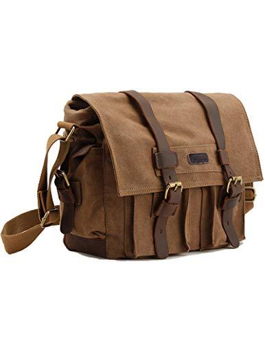 Kattee Mens Canvas Cow Leather DSLR SLR Vintage Camera Shoulder Messenger Bag Khaki