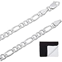 "3.8mm .925 Sterling Silver Nickel-Free Italian Figaro Link Chain Necklace, 16""18""20""22""24""26""30"""