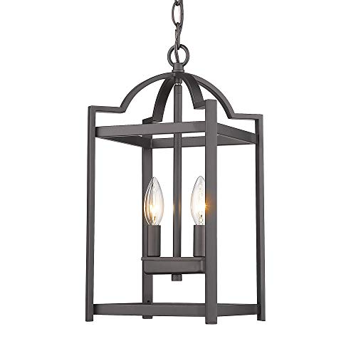 Emliviar 2-Light Lantern Pendant Light, Foyer Chandelier Hanging Light Fixture, Oil Rubbed Bronze Finish, - Pendant Lantern Large