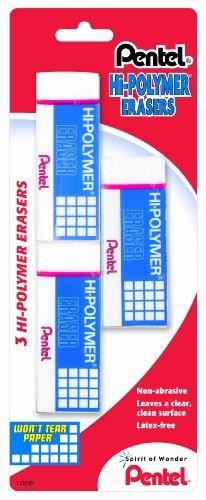 Pentel Hi-Polymer Eraser Mixed Pack 4 Cap Erasers, 1 Small Block, 1 Large Block, Pack of 6 (ZEH2510BP)