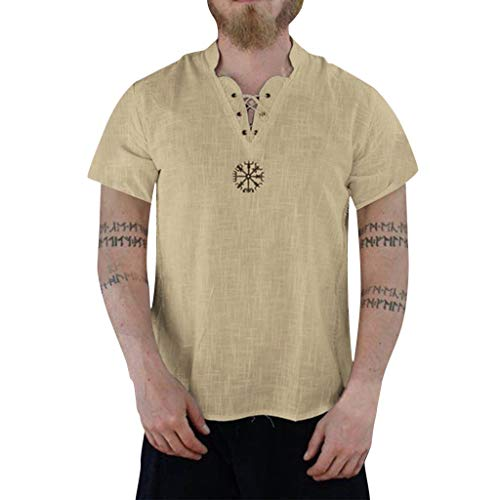Men's Summer Fashion Pure Cotton and Hemp Short Sleeve Comfortable Top
