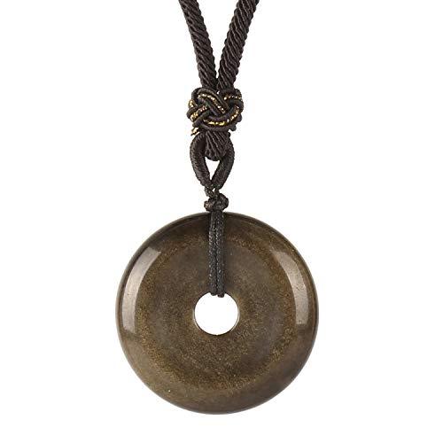 MATT HANN Rainbow Eye Obsidian Safety Circle Pendant Original Handmade Grounding Stone Protection (Golden Obsidian B) ()