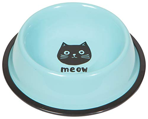 Now Designs 5097001aa Cat Food and Water Bowl, Cats Meow, Blue