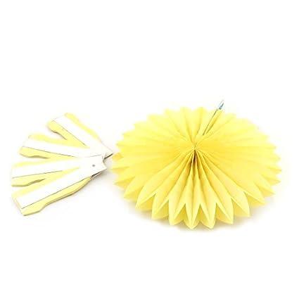 eDealMax Amarillo Tissue Paper Folding Fan Flor 5pcs Para la Ventana de la Fiesta de cumpleaños