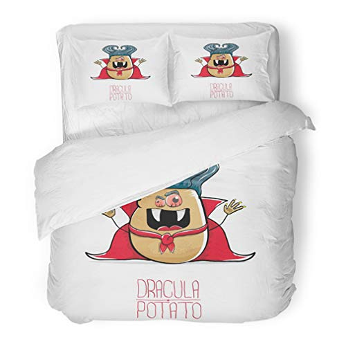 Emvency Bedding Duvet Cover Set Full/Queen (1 Duvet Cover + 2 Pillowcase) Funny Cartoon Cute Dracula Potato With Fangs And Red Cape White My Name Is Halloween Hotel Quality Wrinkle and Stain Resistant]()