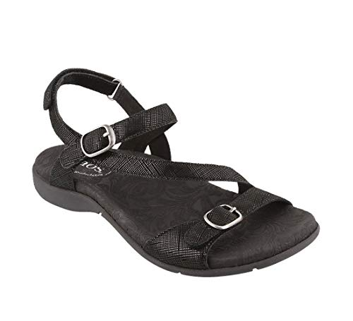 - Taos Footwear Women's Beauty 2 Black Printed Leather Sandal 8 M US
