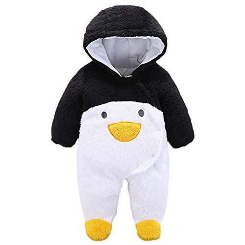 JIANLANPTT Toddler Boys Girls Winter Romper Cute Cartoon Flannel Baby Onesies Black Penguin 0-3months
