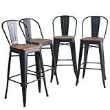 YongQiang Metal Bar Stools Set of 4 High Back Wooden Seat Industrial Indoor Outdoor Bar Chairs 30' Matte Black