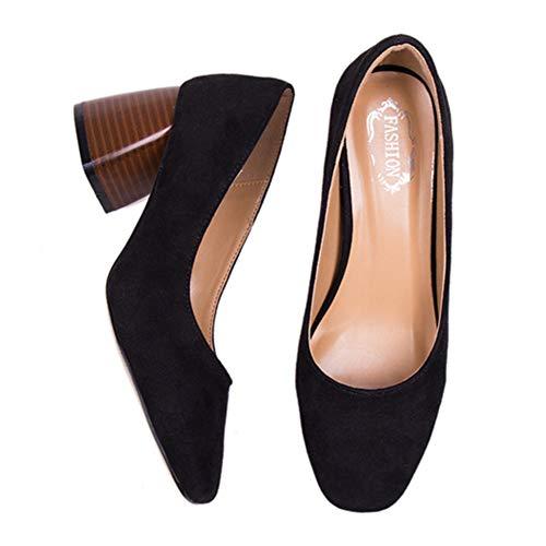 Club Bocca Semplice Ufficio Trend Pompe Scarpe Suede Tacchi Superficiale Donna Casual Elegante Gtagain Fashion Nero Spesso Lavoro Tacco Col W0Tnq6qA