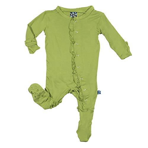 Kickee Pants Basic Pants - Kickee Pants Little Girls Basic Classic Ruffle Footie with Snaps - Meadow, Newborn