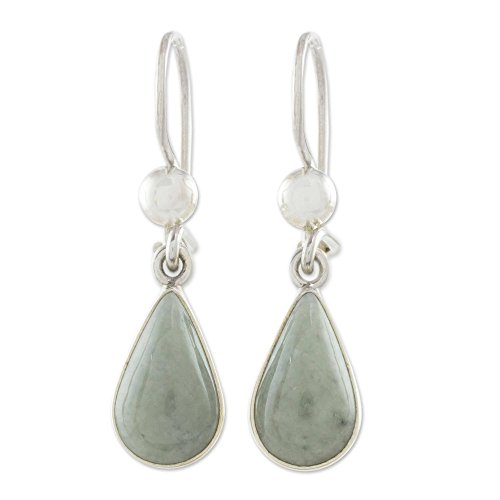 NOVICA Jade .925 Sterling Silver Dangle Earrings, Apple Green Tears'