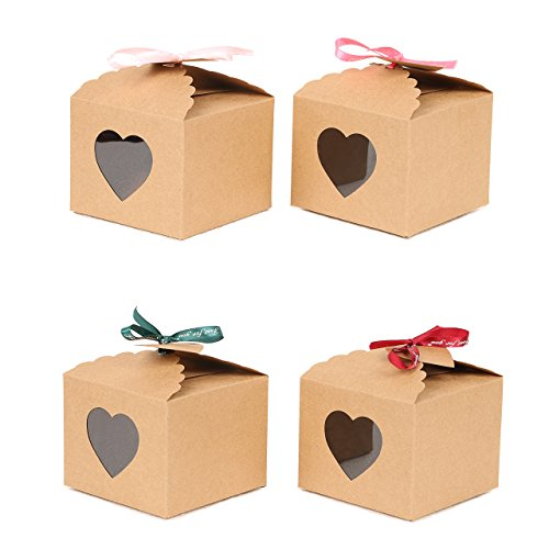 YuSang Kraft Boxes with Tags and Ribbons for Cake Candy Treat Holiday Party Birthday Homemade Favor 5x5x4 Inch (Pack of 16) -