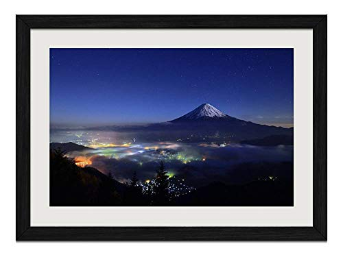 R.Maltto Nature Night Mountain Mount Fuji - Art Print Wall Hang Black Wood Frame Poster Framed Picture Home Decor(24x16inch)