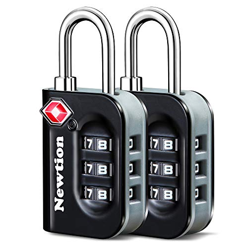 Newtion TSA Approved Luggage Lock,Travel Lock with Double Color Alloy Body,TSA Combination Lock for Luggage 1&2 Pack (Black 2Pack)