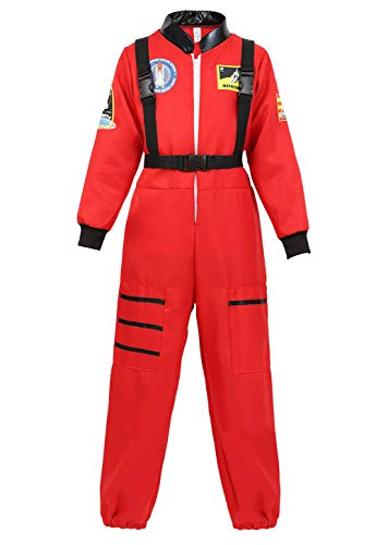 (Halloween Astronaut Costume for Kids Role Play Child NASA Flight Jumpsuit Costumes Red)