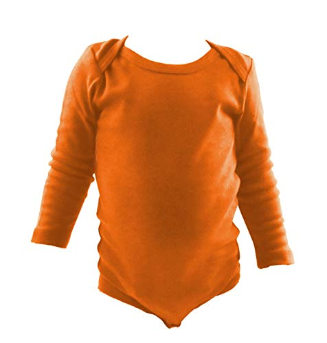 - COUVER Unisex Baby Infant Toddler Long Sleeve Lap Shoulder Solid Color Bodysuit Onesie,Orange,24 Months