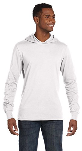 Bella + Canvas Unisex Jersey Long-Sleeve Hoodie, Small, White