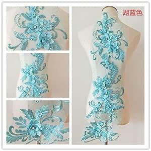 tocado de encaje parche de tela de flores hecho a mano para novia 3 piezas//juego de 19 colores 3D con cuentas para vestido de novia con apliques de encaje Encaje Crafts