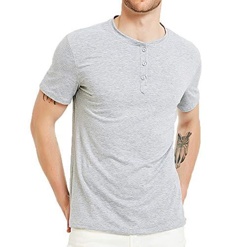 - SALNIER Mens Casual Henley Shirt Slim Fit T Shirts Cotton Shirts Short Sleeve (Gray, M)