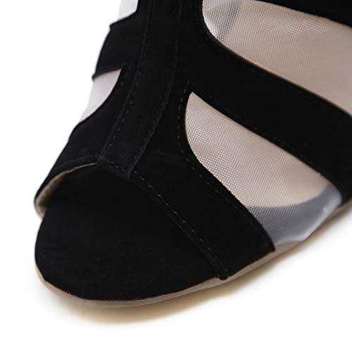 Confortable Suède Talon Black Mince 12cm Des Aux Bottes Engrener Whl Sandales hauteur Du Cool Femmes Robe Haut ll Talon Transparent Rome Ux6RnqRzwB