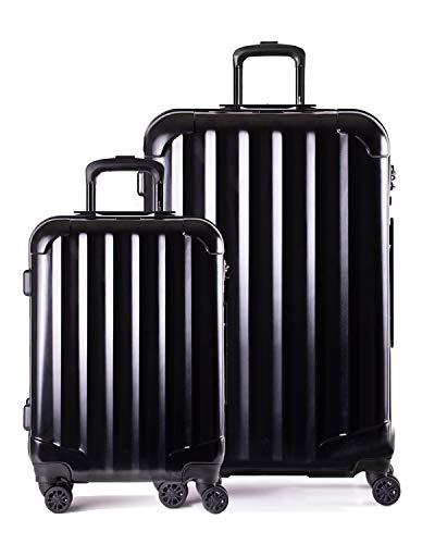 Genius Pack Hardside Luggage Spinner - Smart, Organized, Lightweight Suitcase - TSA Approved Maximum Allowance Cabin Size (2 Piece Set (29,21.5), Supercharged - Jet Black)