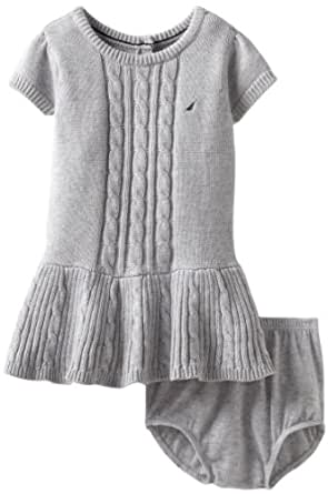 Nautica Sportswear Kids Baby Girls' Short Sleeve Cable Sweater Dress, Light Grey Heather, 12 Months
