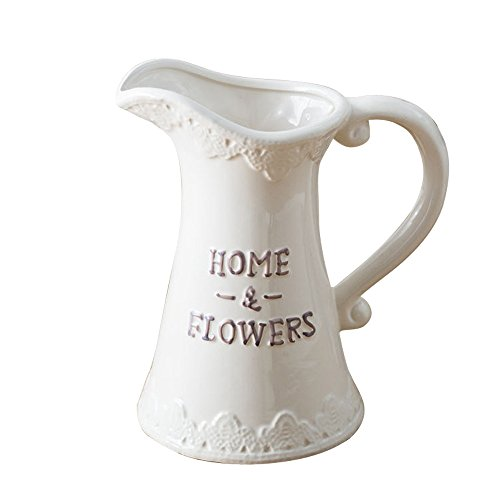 Vintage Ceramic Vase - Jomop Vintage Pottery Pitcher Ceramic Pottery Handmade Farmhouse Decor White Vase