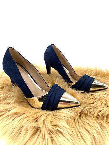 Donna Alto 10 Bi Sexy Decollete Blu Moda materiale Cm Scarpe Stiletto D'oro Angkorly Tacco vnZ0TqB